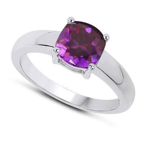 Certified 1.50 CTW Genuine Amethyst And 14K White Gold