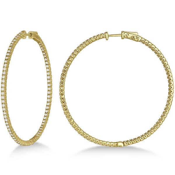 Unique X-Large Diamond Hoop Earrings 14k Yellow Gold (3