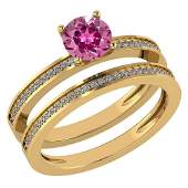 Certified 073 Ctw Pink Tourmaline And Diamond 14k Yell