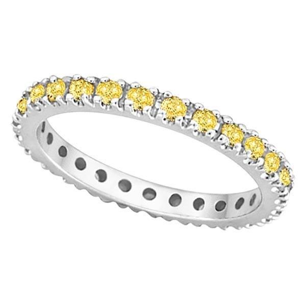Fancy Yellow Canary Diamond Eternity Ring Band Platinu