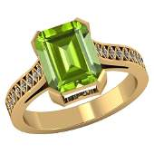 Certified 295 CTW Genuine Peridot And Diamond 14K Yell