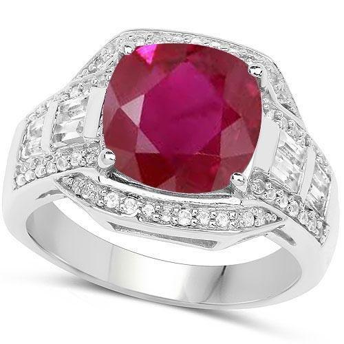 Certified 5.70 CTW Genuine Ruby And Diamond 14K W Gold