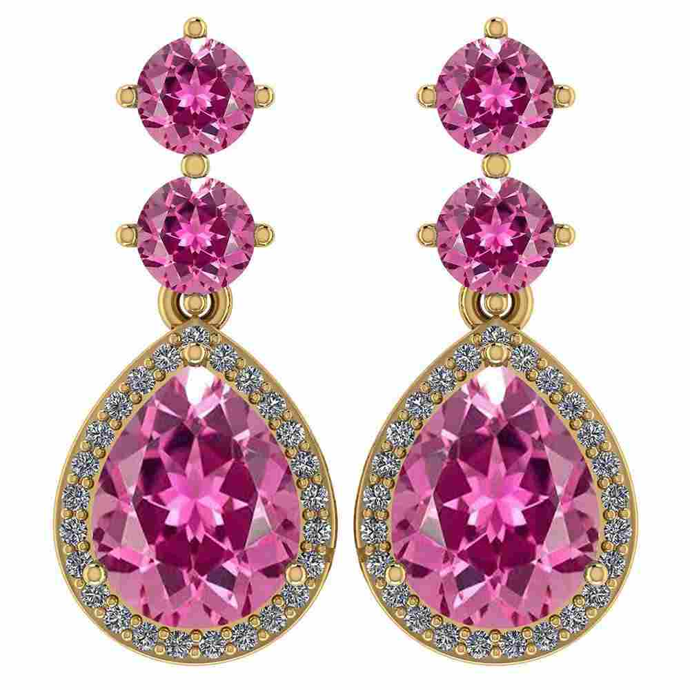 Certified 5.17 Ctw Pink Tourmaline And Diamond 14k Yell
