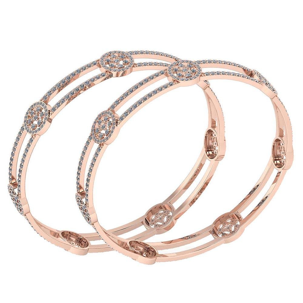 Certified 7.22 Ctw Diamond VS/SI1 Bangles 14K Rose Gold