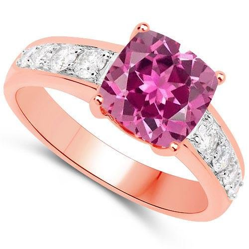Certified 2.35 CTW Genuine Pink Touramline And Diamond