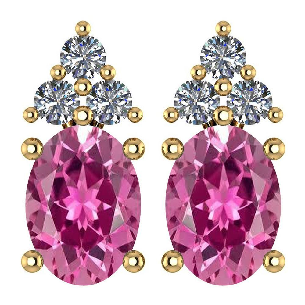 Certified 1.46 Ctw Pink Tourmaline And Diamond Wedding/