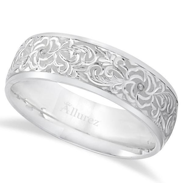 Hand-Engraved Flower Wedding Ring Wide Band Platinum