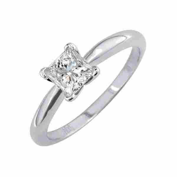 Certified 1 CTW Princess Diamond Solitaire 14k Ring F/S