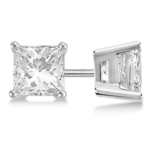 Certified 1.02 CTW Princess Diamond Stud Earrings D/SI2