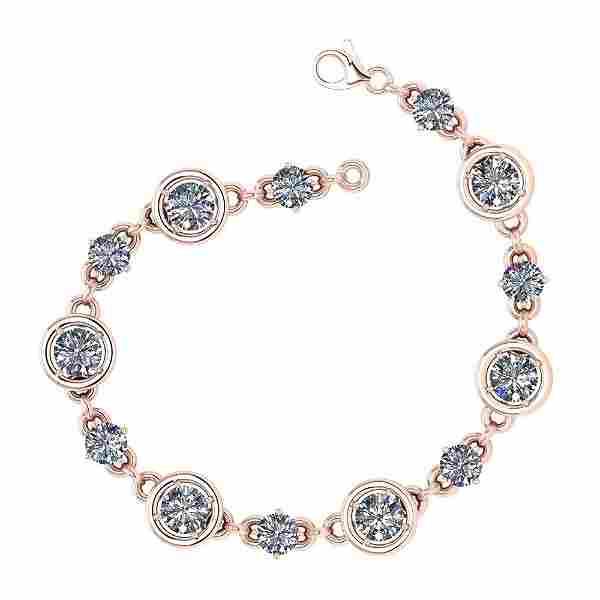 Certified 2.61 Ctw Diamond VS/SI1 Bracelet 14K Rose Gol