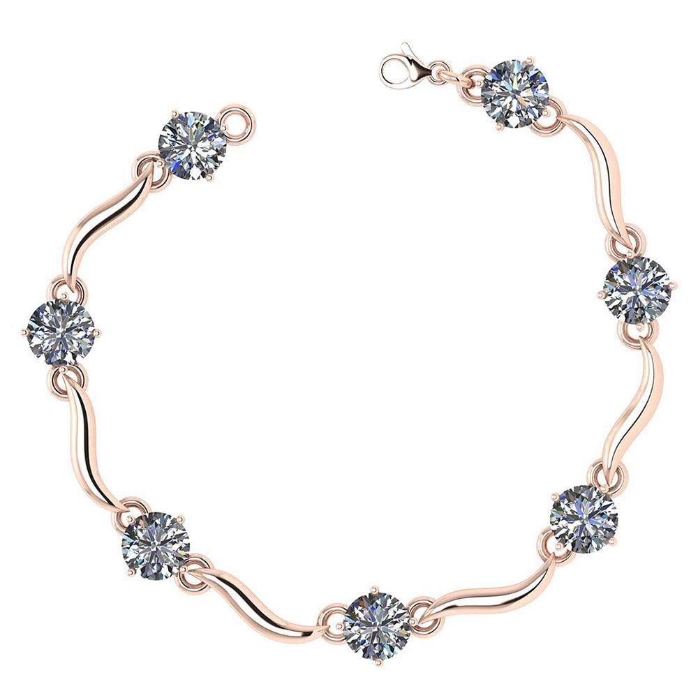 Certified 3.50 Ctw Diamond VS/SI1 Bracelet 14K Rose Gol