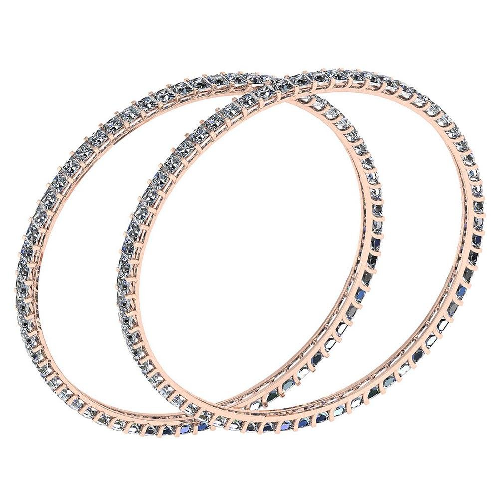 Certified 12.40 Ctw Diamond VS/SI1 Bangles 14K Rose Gol