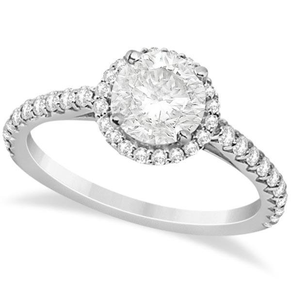 Halo Diamond Engagement Ring with Side Stone Accents Pl