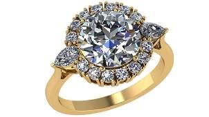 Certified 200 CTW Round Diamond 14K Yellow Gold Ring