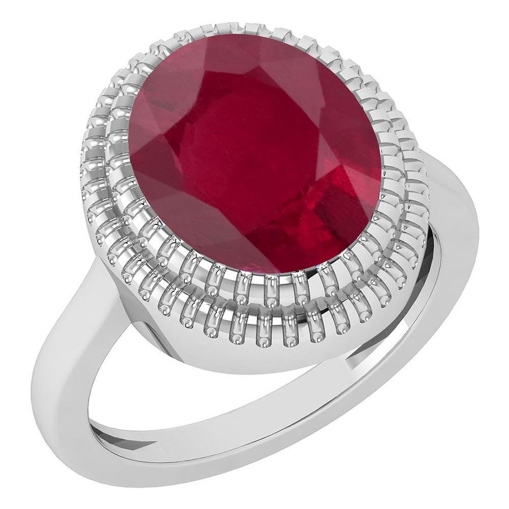 Certified 5.05 Ctw Ruby 14K White Gold Solitaire Ring
