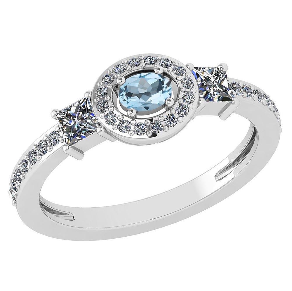 Certified 0.77Ctw Aquamarine And Diamond 18k White Gold