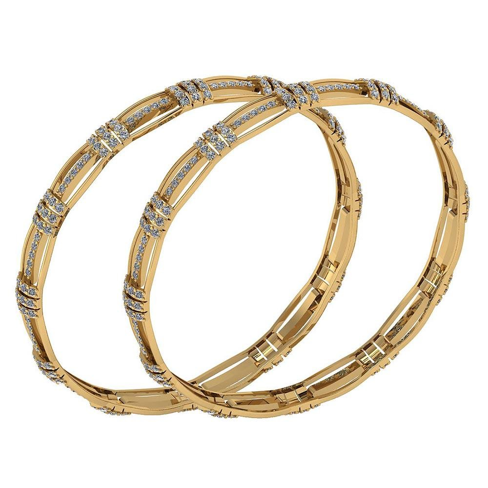 Certified 5.71 Ctw Diamond VS/SI1 Bangles 14K Yellow Go