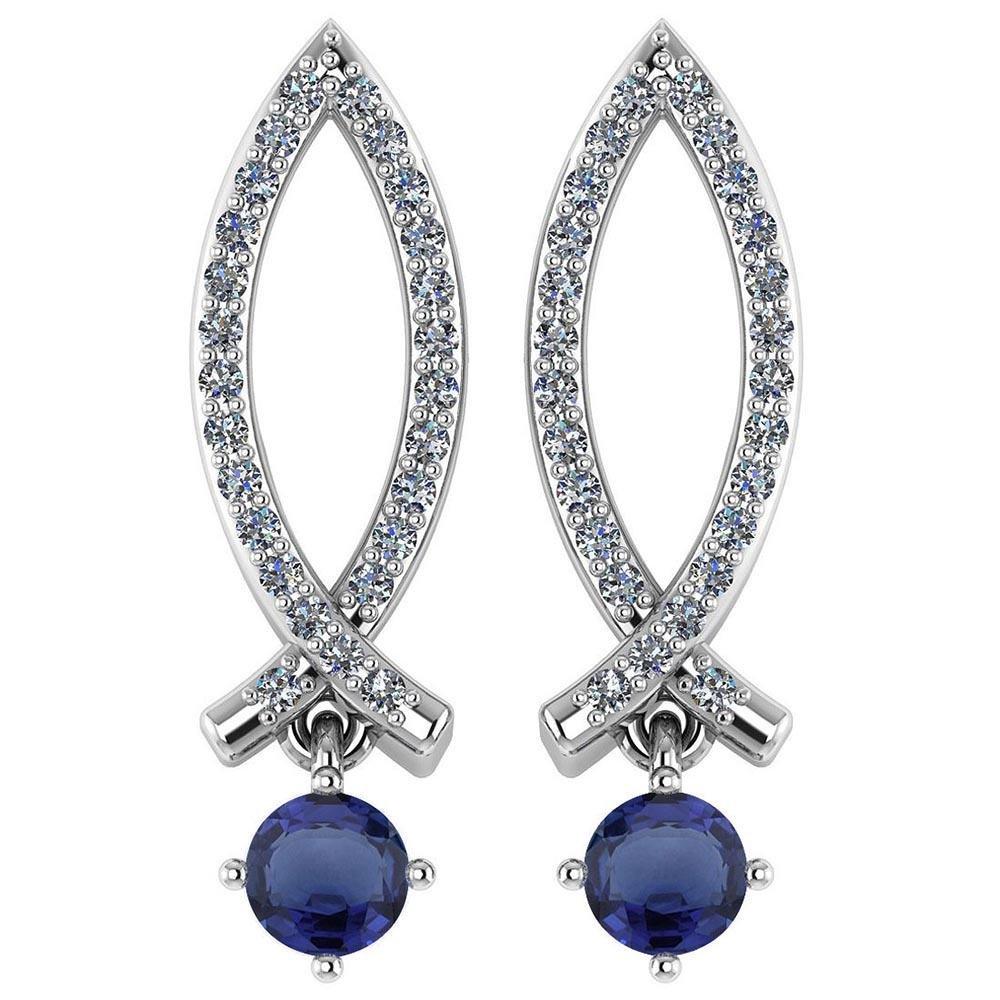 Certified .72 Ctw Genuine Blue Sapphire And Diamond 14k