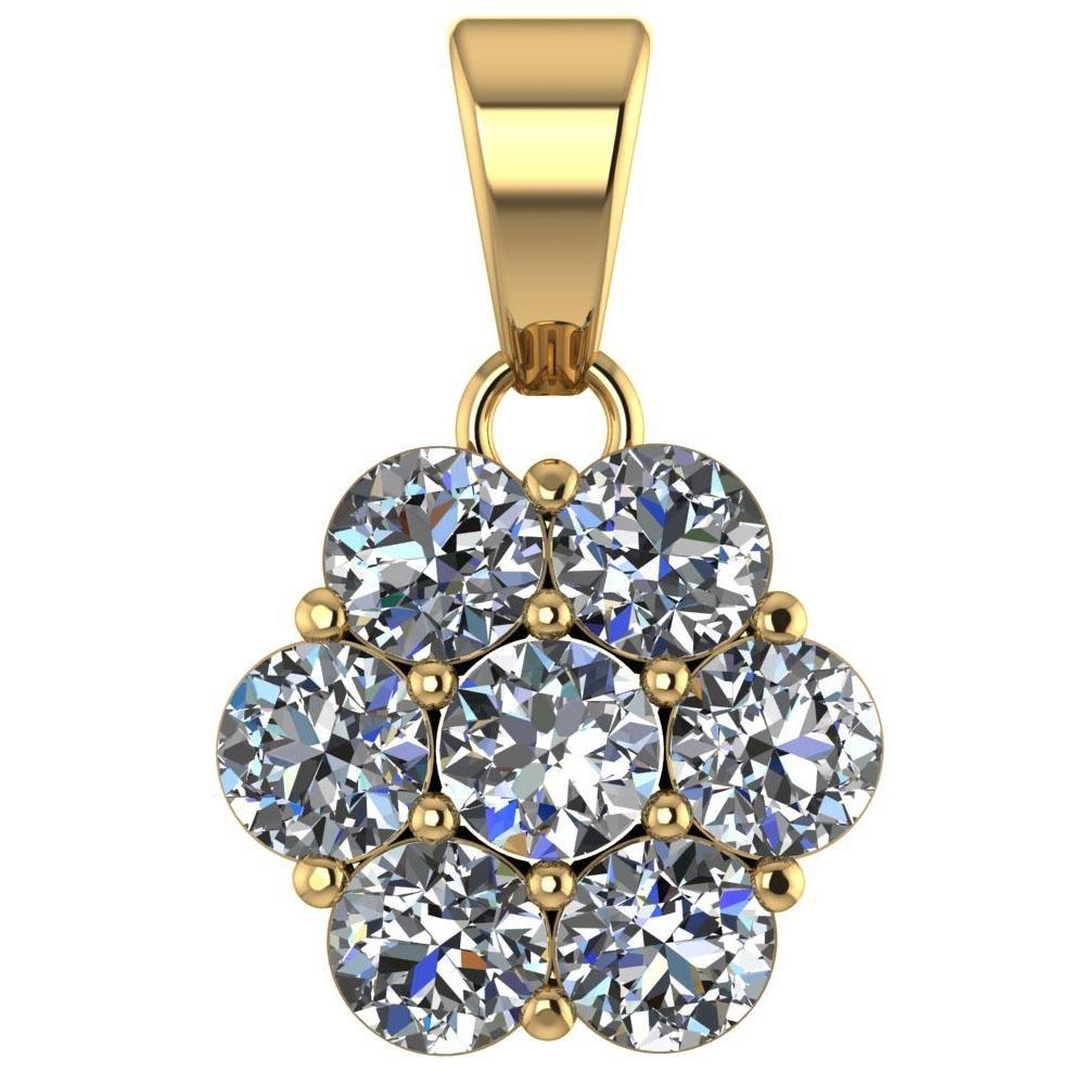 Certified 1.25 CTW Round Diamond 14K Yellow Gold Pendan