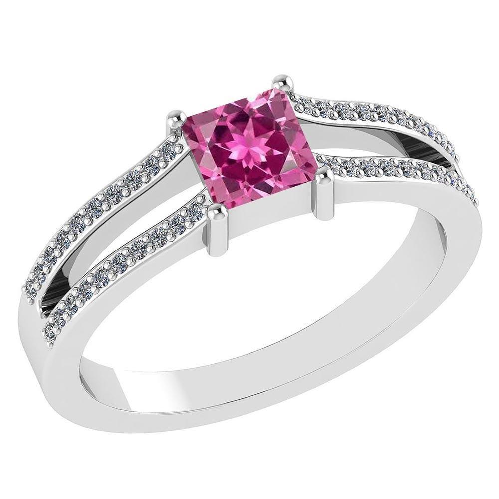 Certified .70 CTW Genuine Pink Tourmaline And Diamond (