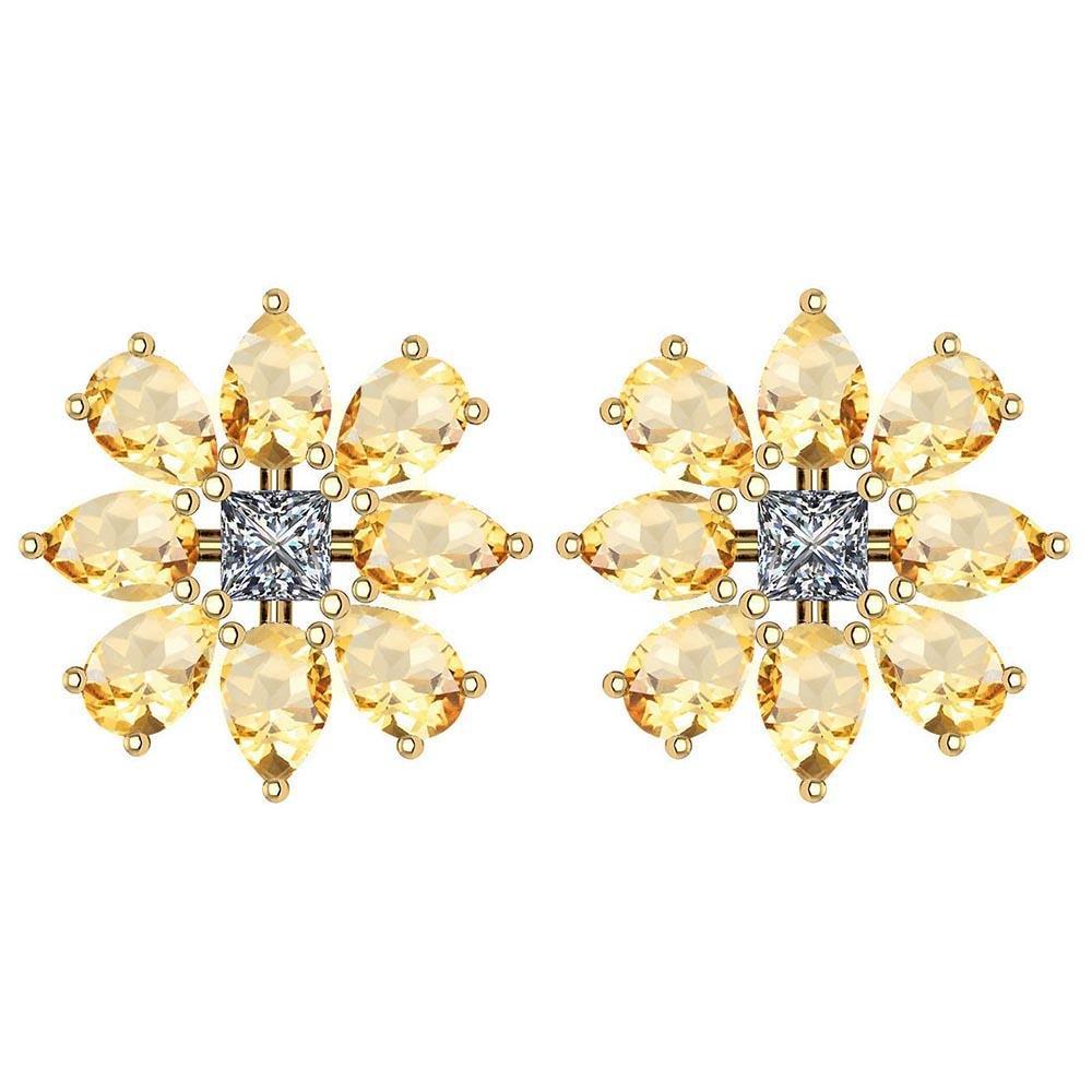 Certified 2.20 CITRINE AND DIAMOND 14k GOLD STUD YELLOW