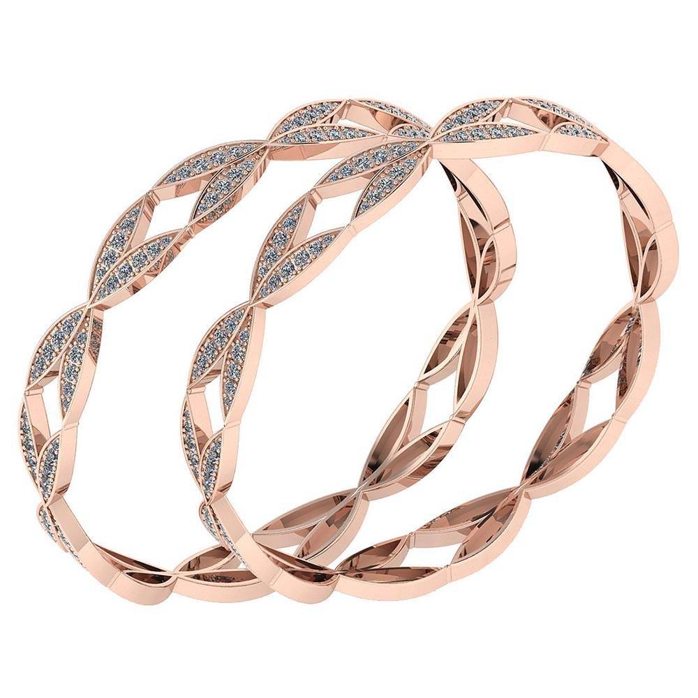Certified 6.52 Ctw Diamond VS/SI1 Bangles 14K Rose Gold