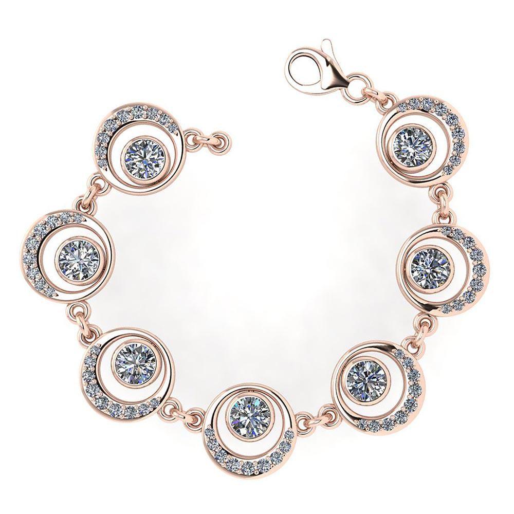 Certified 4.07 Ctw Diamond VS/SI1 Bracelet 14K Rose Gol