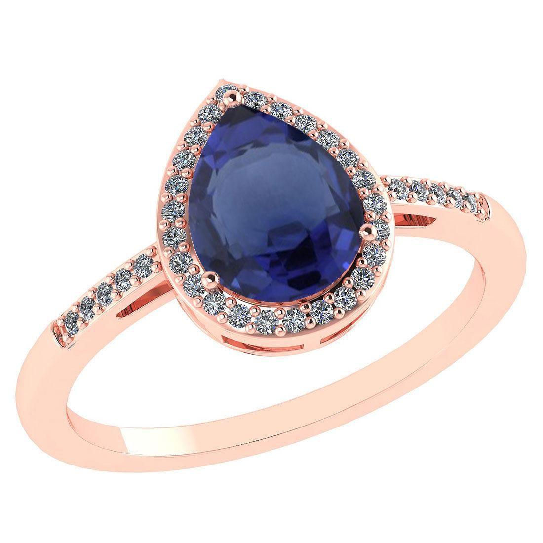 Certified 2.18 Ctw Bule Sapphire And Diamond 14k Rose G