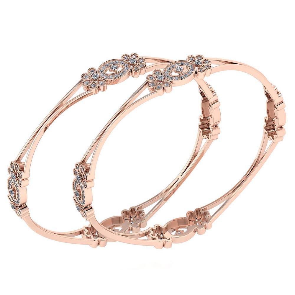 Certified 2.25 Ctw Diamond VS/SI1 Bangles 14K Rose Gold