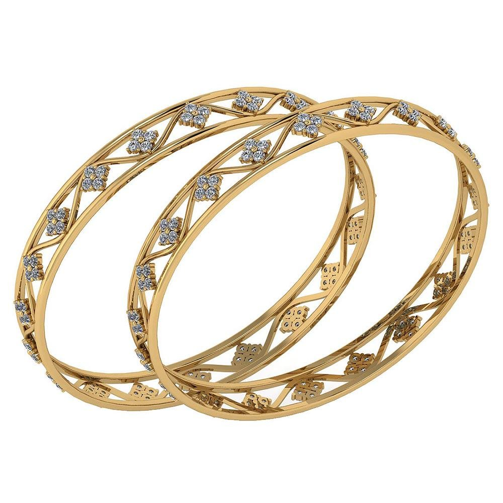 Certified 4.80 Ctw Diamond VS/SI1 Bangles 14K Yellow Go