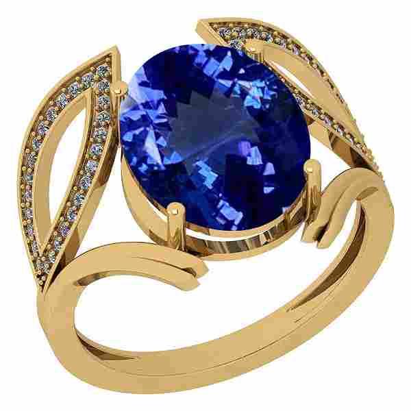 Certified 5.46 Ctw VS/SI1 Tanzanite and Diamond 14K Yel