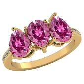 Certified 381 CTW Pink Tourmaline And Diamond 14k Yell