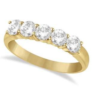 Five Stone Diamond Ring Anniversary Band 14k Yellow Gol