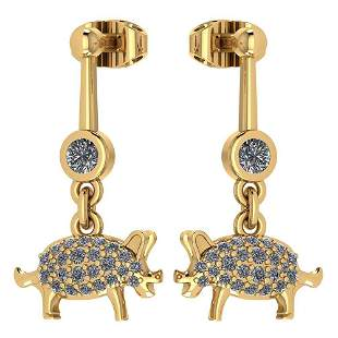 Certified 0.39 Ctw Diamond VS/SI1 Chinese Pig Earring 1