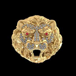 0.51 Ctw VS/SI1 Ruby And Diamond 14K Yellow Gold Lion K