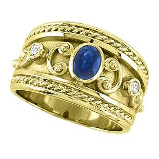 Oval Blue Sapphire and Diamond Byzantine Ring 14k Yello