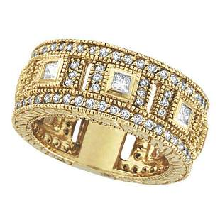 Round and Princess Eternity Diamond Byzantine Ring 14k