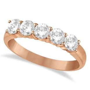 Five Stone Diamond Ring Anniversary Band 14k Rose Gold