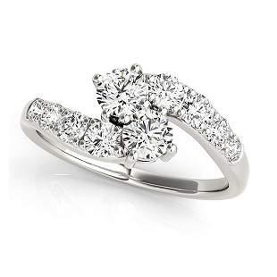 Diamond Accented Contoured Two Stone Ring 14k White Gol