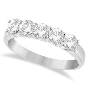 Five Stone Diamond Ring Anniversary Band 14k White Gold
