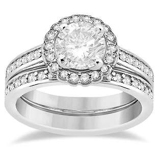 Modern Flower Halo Diamond Engagement Set Platinum (1.0