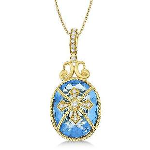 Blue Topaz and Diamond Byzantine Pendant Necklace 14k Y