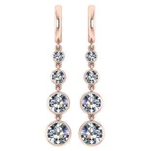 Certified 1.73 Ctw Diamond VS/SI1 Earrings For 14K Rose