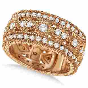 Vintage Style Byzantine Wide Band Diamond Ring 14k Rose