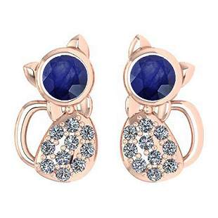 Certified 0.30 Ctw Blue Sapphire And Diamond Cat Style