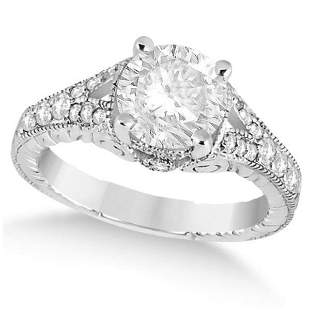 Antique Art Deco Round Diamond Engagement Ring 14k Whit