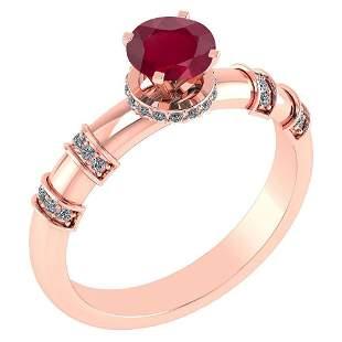 Certified .96 Ctw Genuine Ruby And Diamond 14k Rose Gol