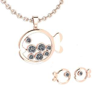 Certified 1.11 Ctw Diamond VS/SI1 Fish Necklace + Earri