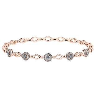 Certified 0.85 Ctw Diamond Bracelet VS/SI1 18K Rose Gol