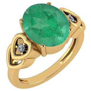 Certified 5.11 Ctw Emerald And Diamond Ladies Fashion H